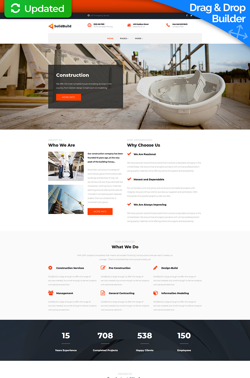 Solid Build - Construction Company Moto CMS 3 Template