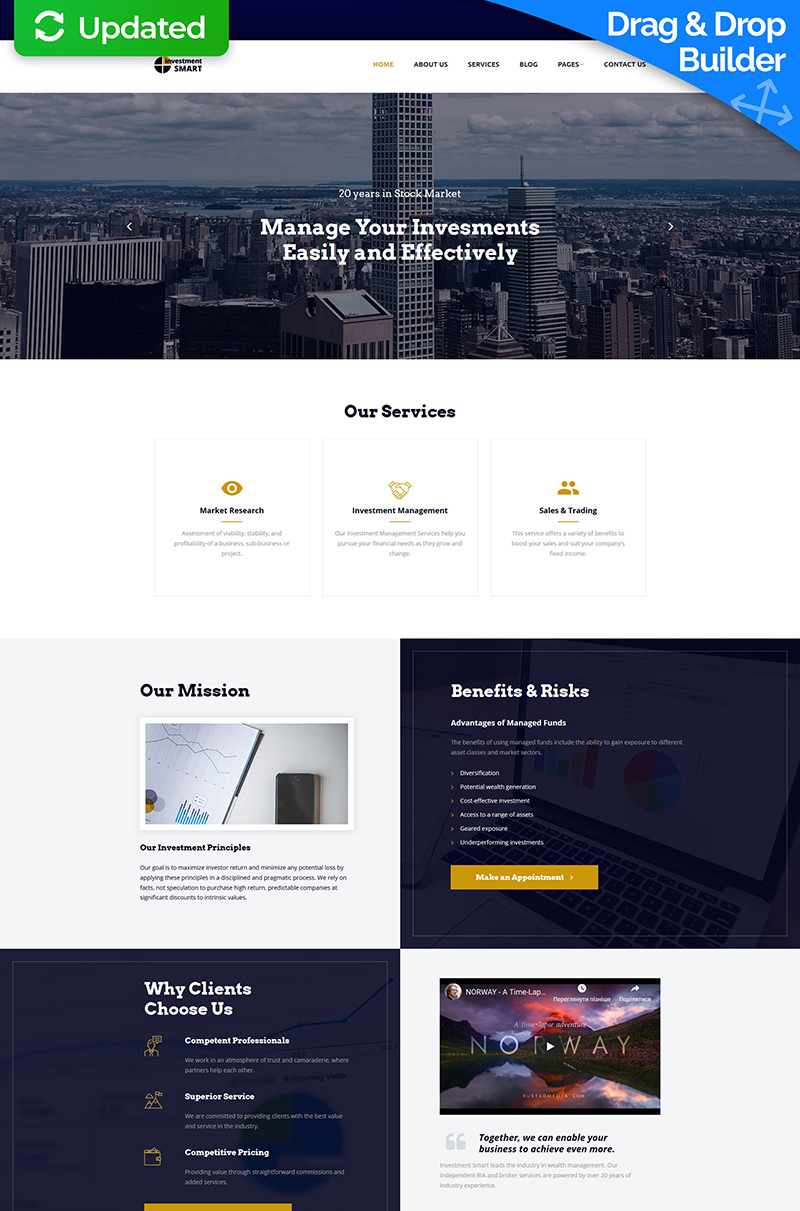 Investment Smart - Solid Investment Agency Moto CMS 3 Template