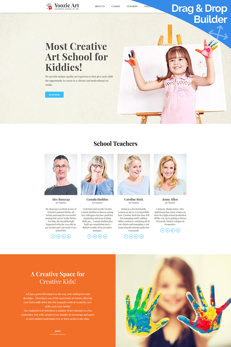 Yoozie - Art School for Kids Moto CMS 3 Template