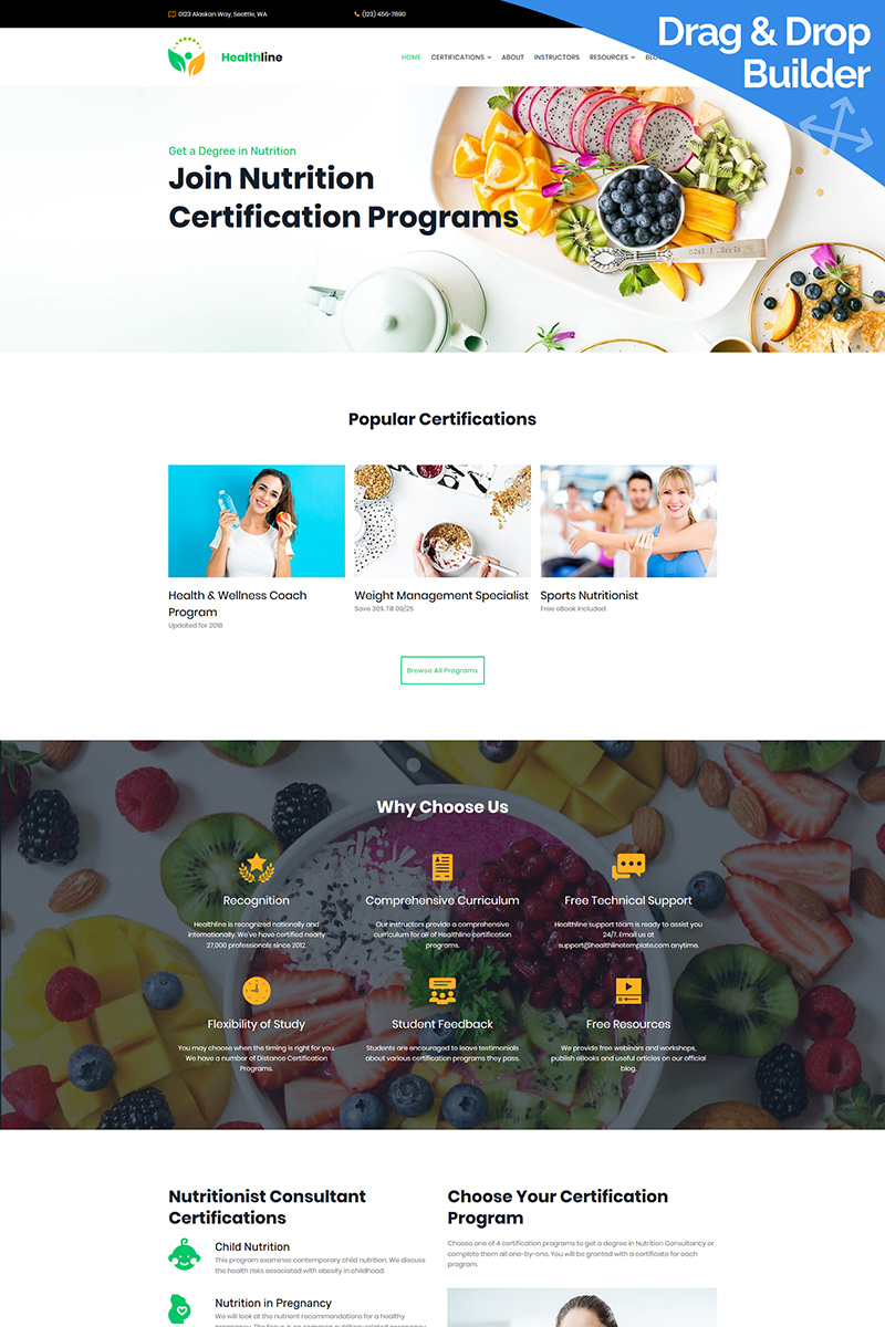 Nutrition Certification Programs Moto CMS 3 Template