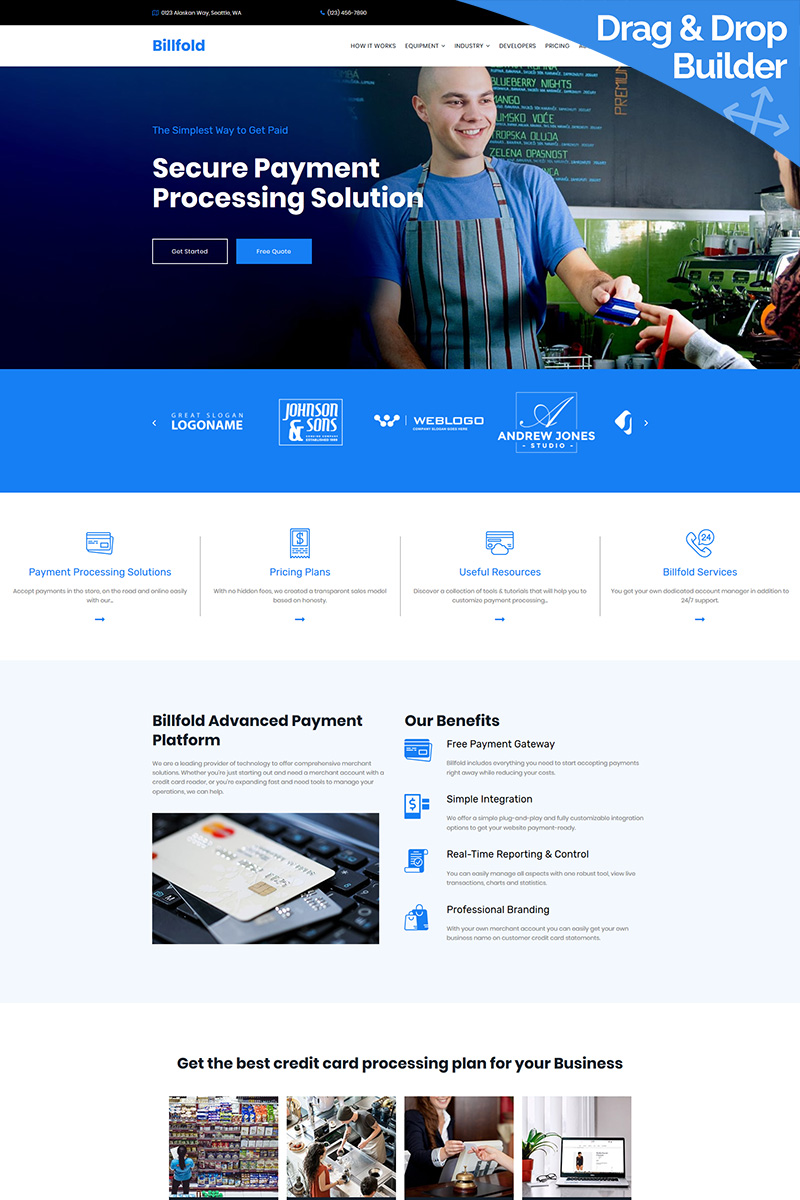 Billfold - Credit Card Processing Premium Moto CMS 3 Template