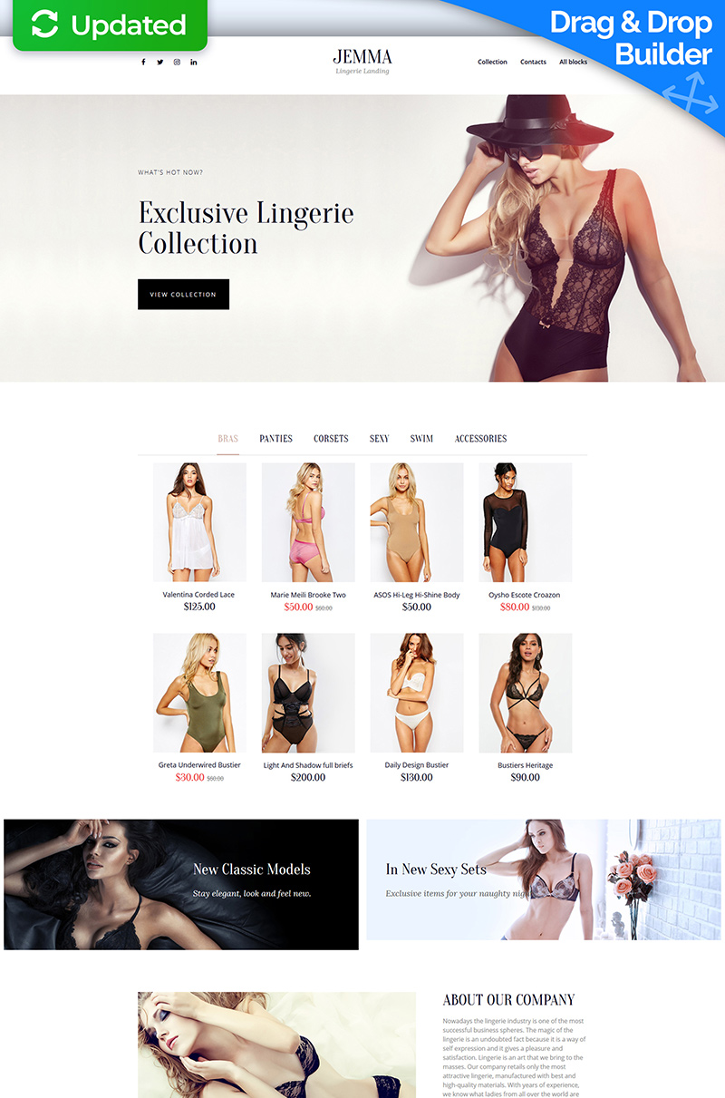 Jemma - Womens Lingerie Landing Page Template
