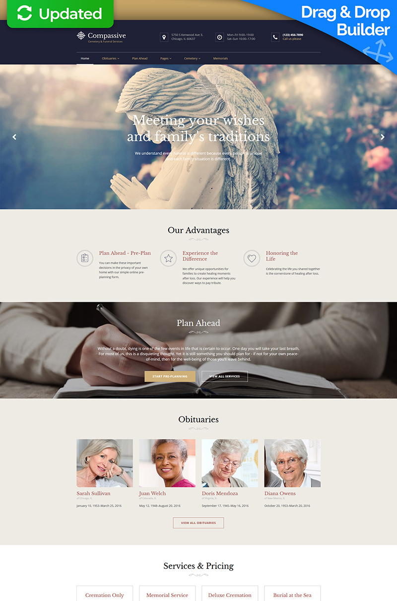 Compassive - Cemetery & Funeral Services Moto CMS 3 Template