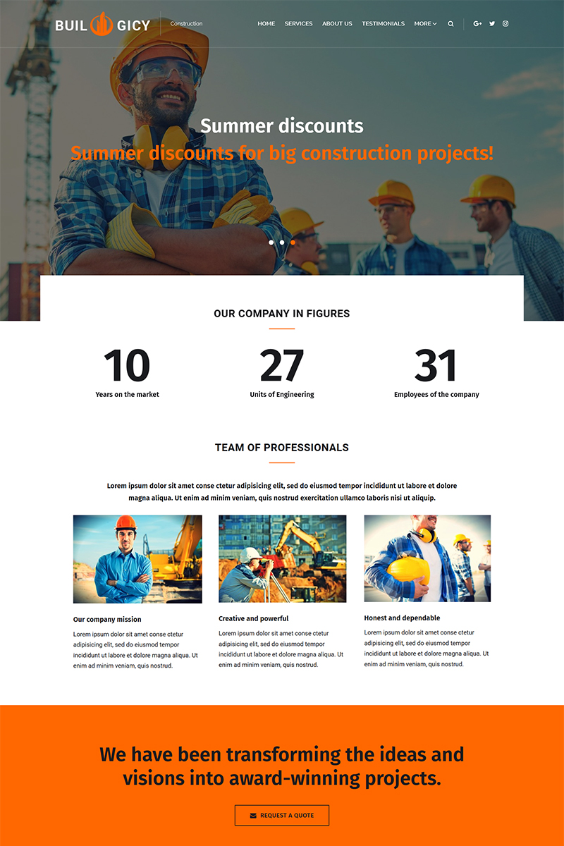 Builogicy - Construction WordPress Theme