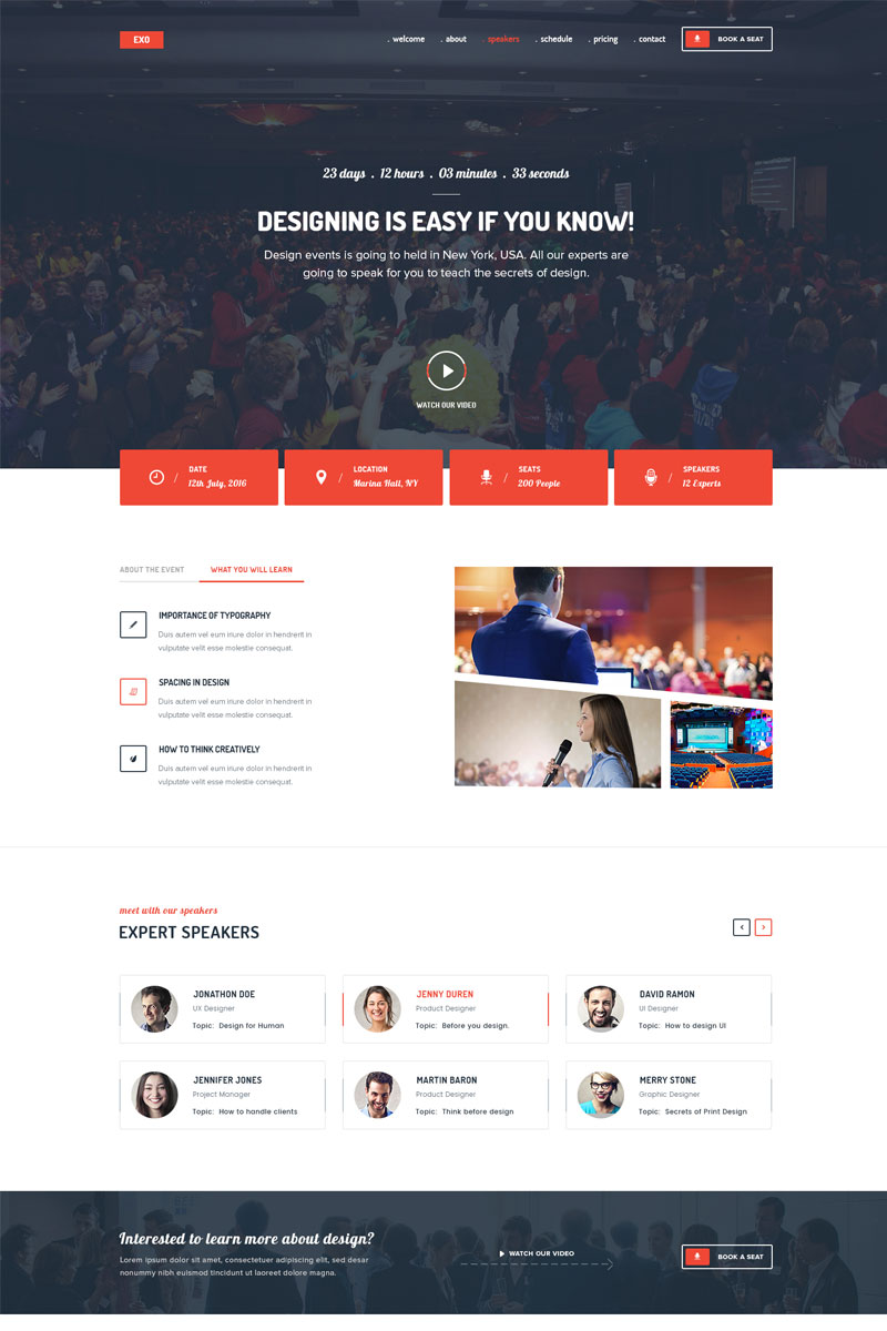 EXO | Event Landing Page Template