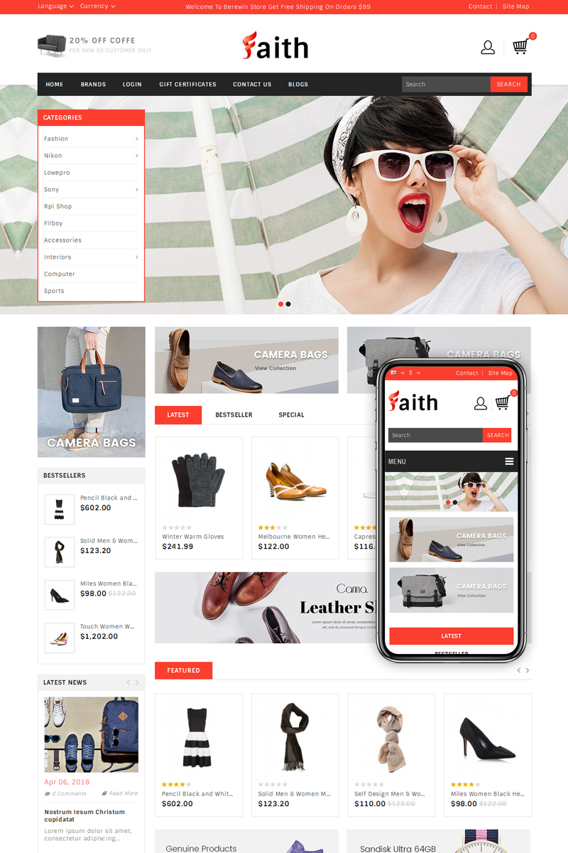 Faith - Fashion Accessories Store OpenCart Template