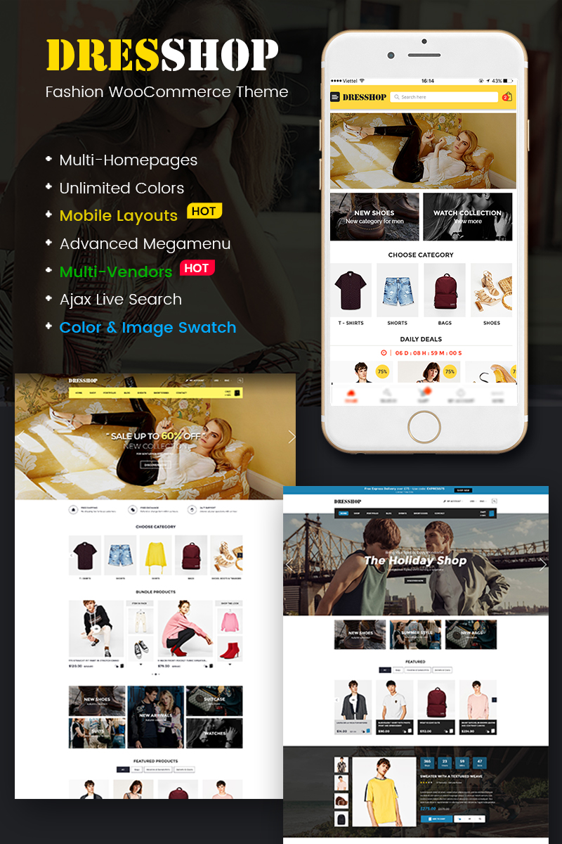 DresShop - Clothing, Fashion Shop (Mobile Layout Included) WooCommerce Theme