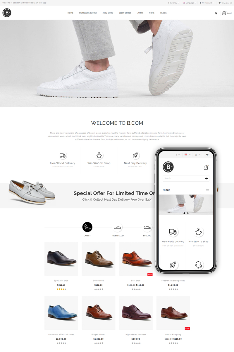 B.Com - Shoes Store OpenCart Template