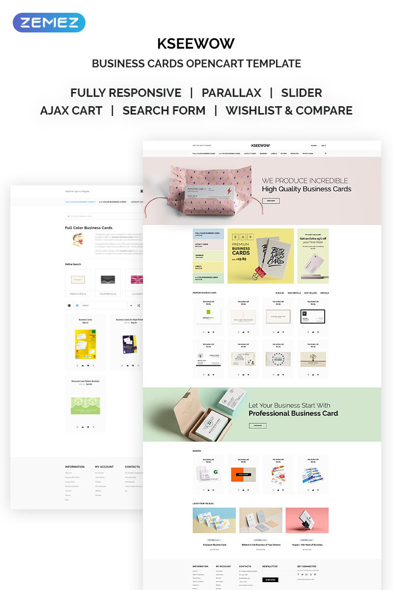 Kseewow - Business Cards OpenCart Template