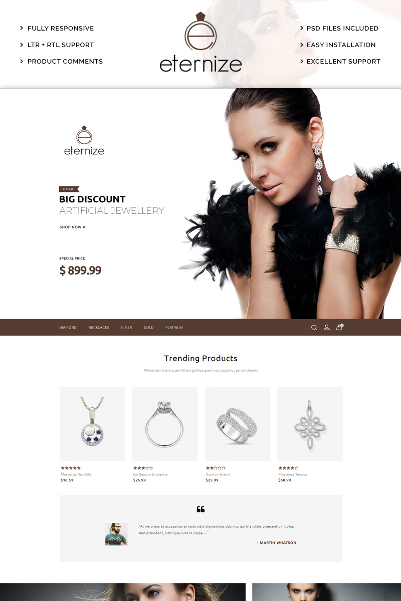 Eternize Jewelry Store PrestaShop Theme