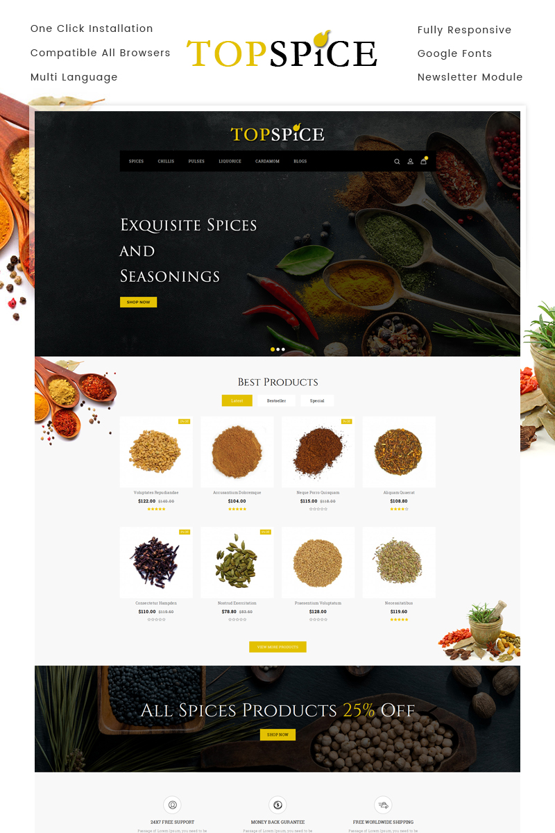 Top Spice Store OpenCart Template