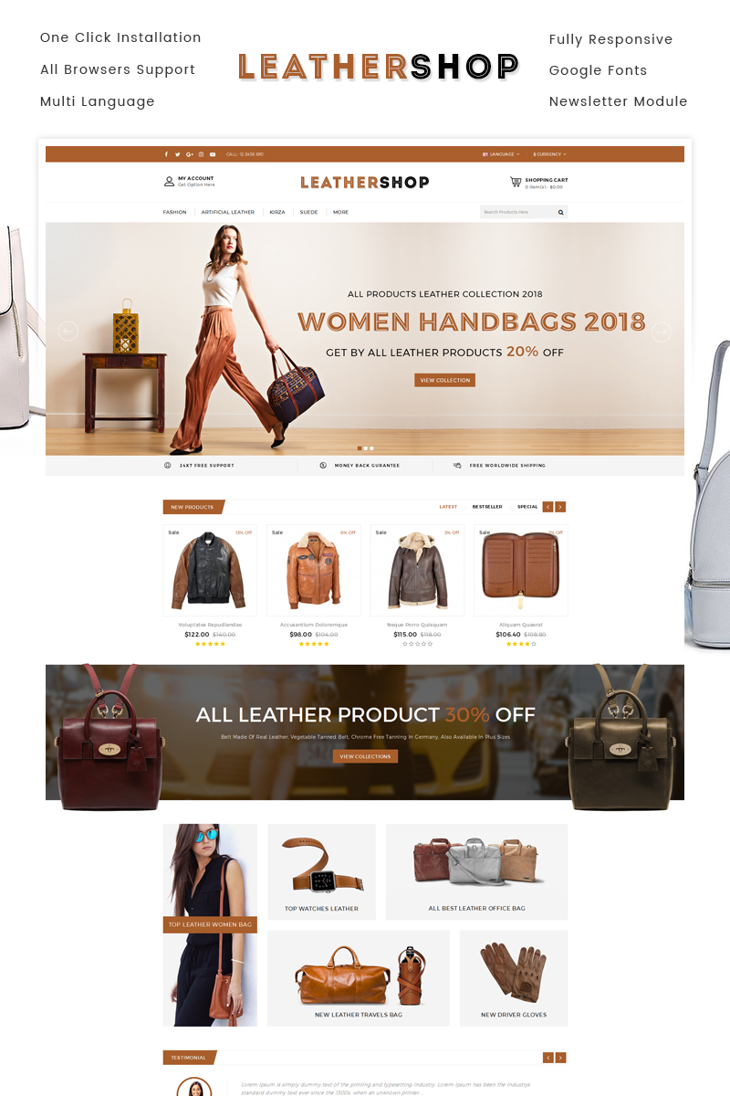 Leather Shop OpenCart Template