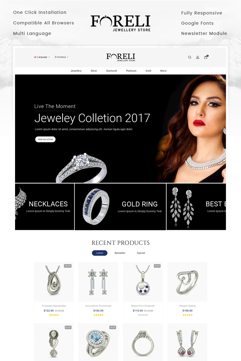 Foreli - Jewelry Store OpenCart Template