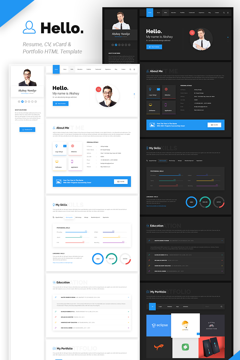 Hello Resume Cv Vcard Portfolio Html Website Template
