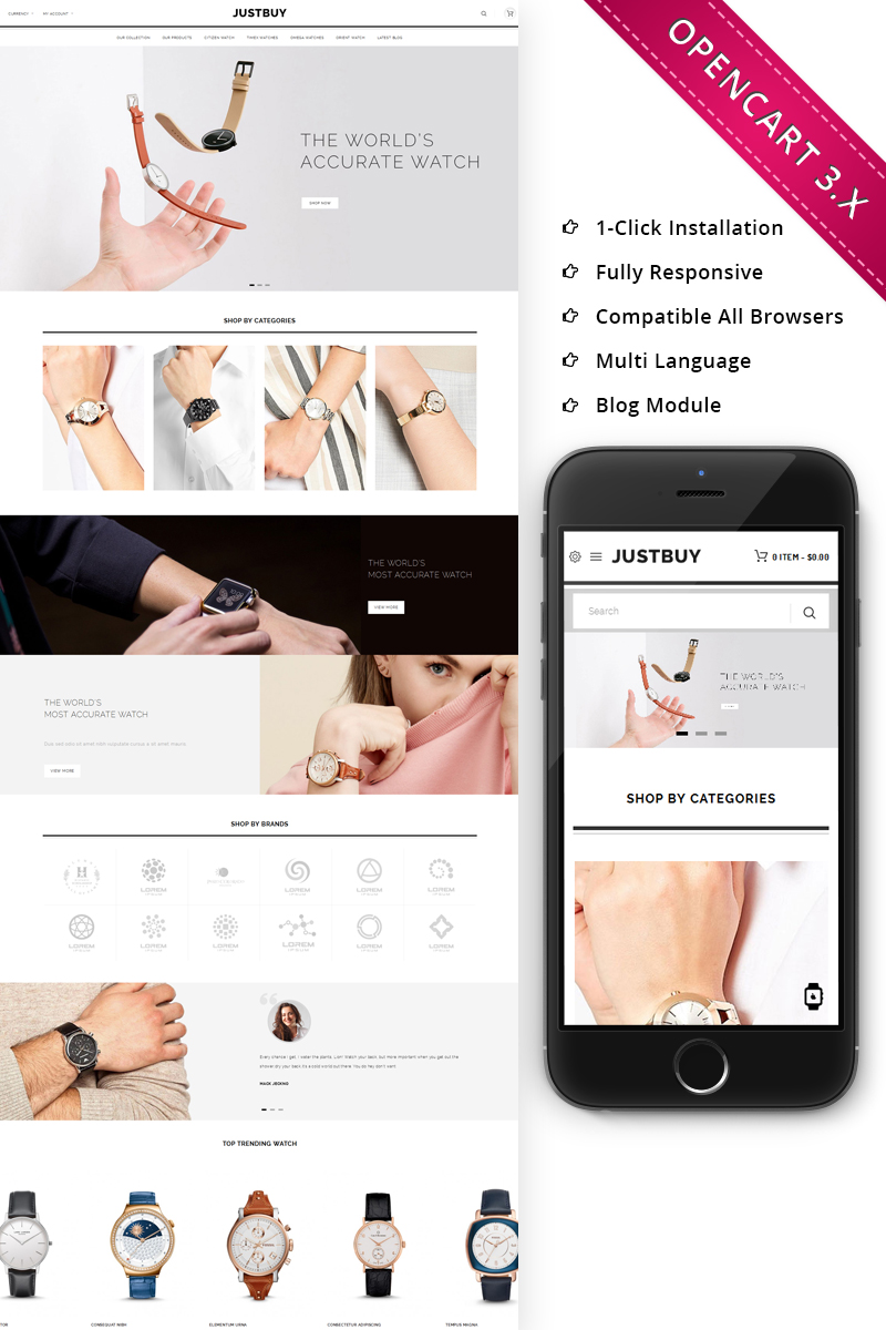 JustBuy Watch Store - Responsive OpenCart Template