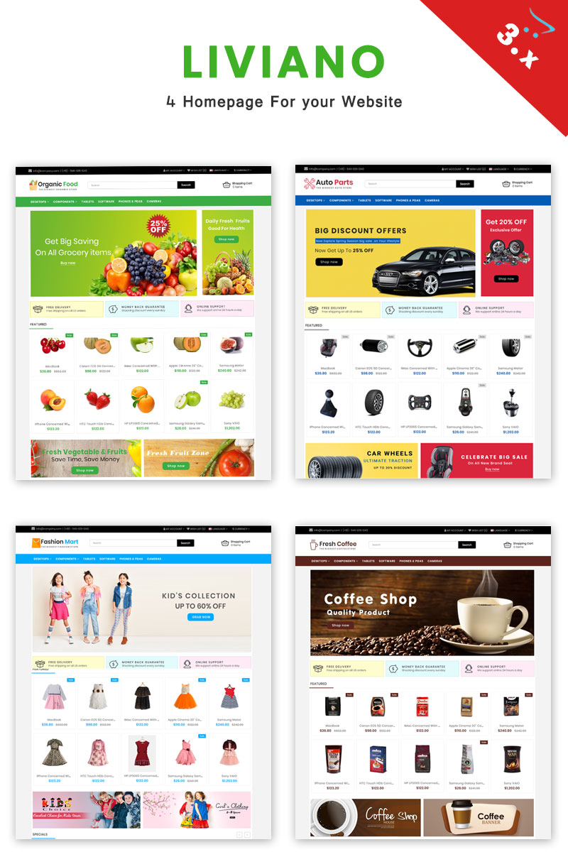 Liviano - Ecommerce Multipurpose OpenCart Template