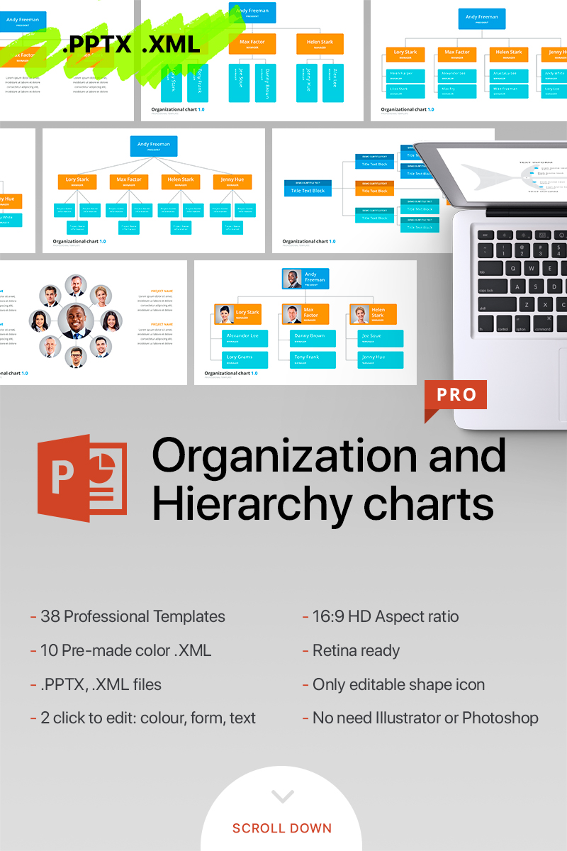 Organizational Chart & Hierarchy - PowerPoint Template
