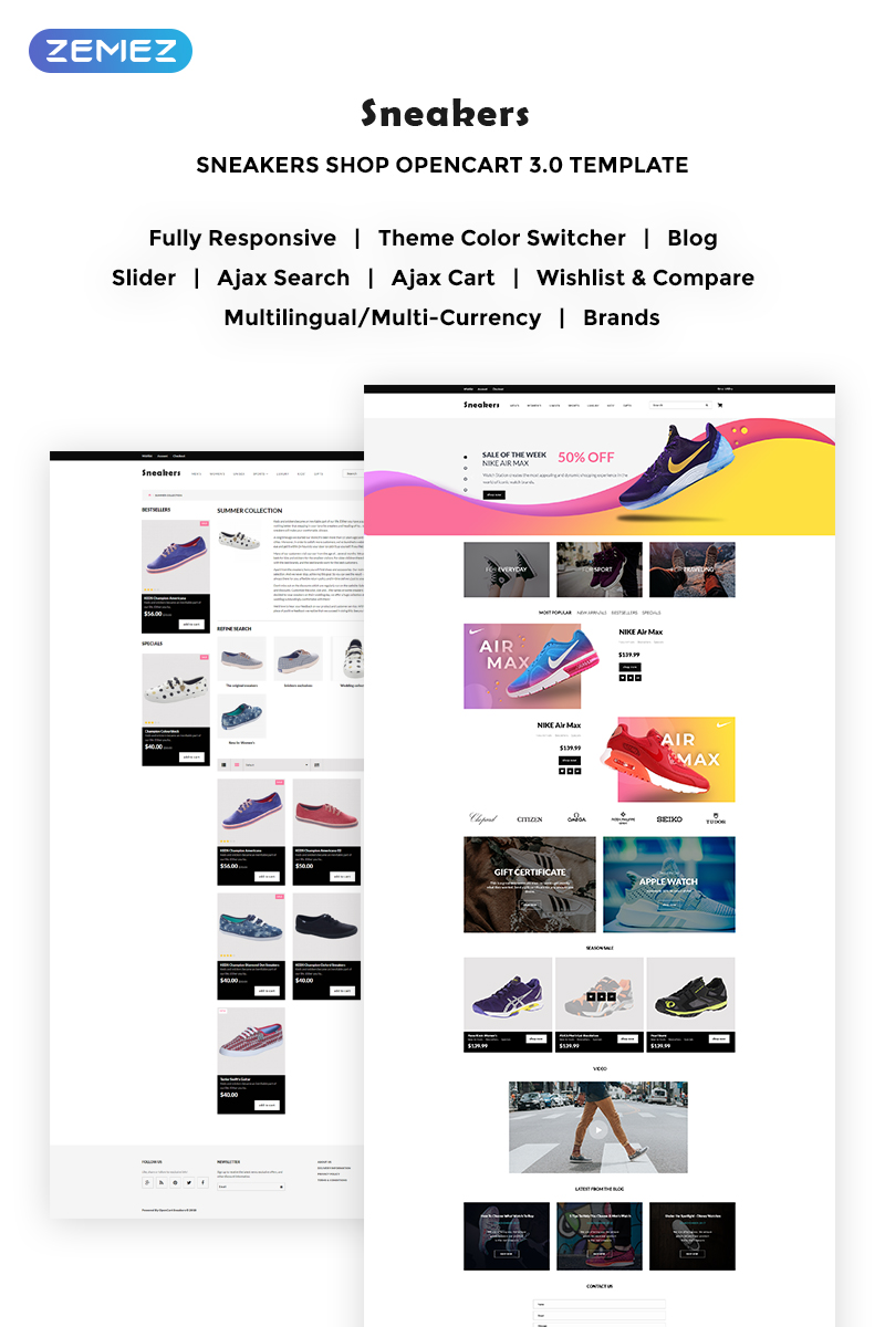 Sneakers Store OpenCart Template