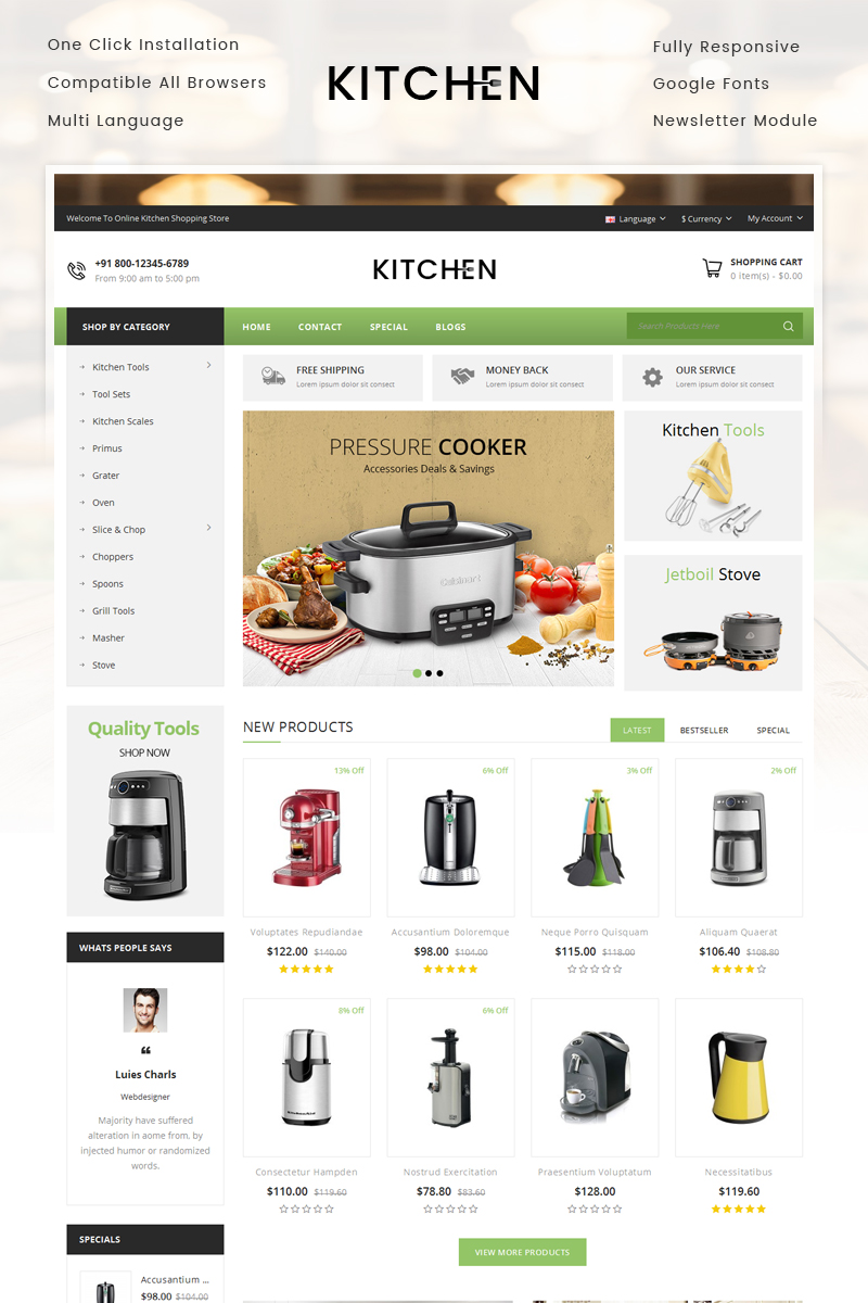 Kitchen Appliance Store OpenCart Template