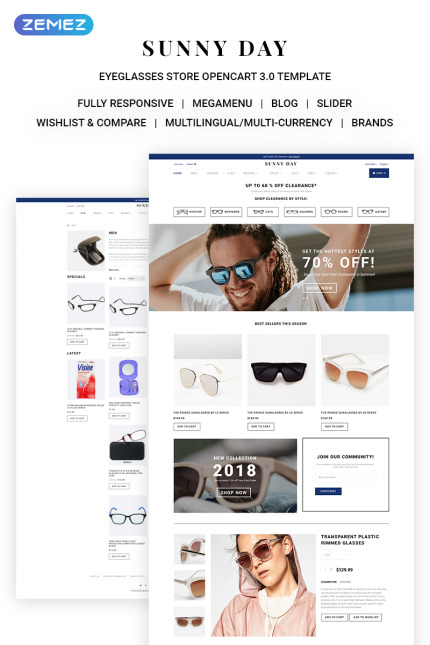 Sunny Day - Classy Eyeglasses Online Store, OpenCart Template