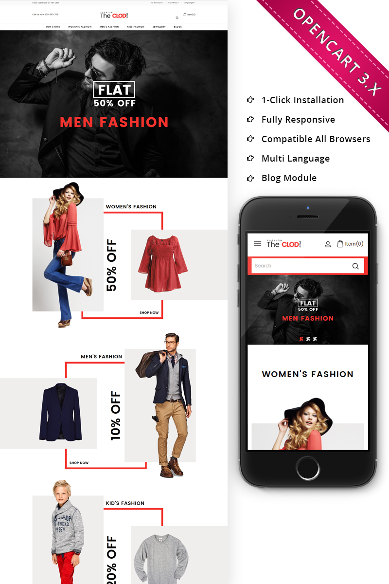 The Cloud Fashio Store - Responsive OpenCart Template