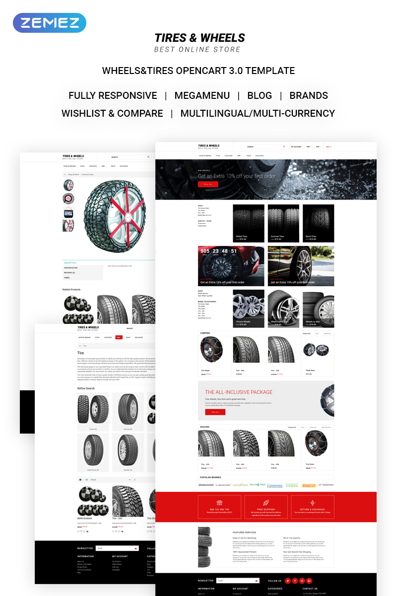 Tires & Wheels - Auto Parts Online Store OpenCart Template
