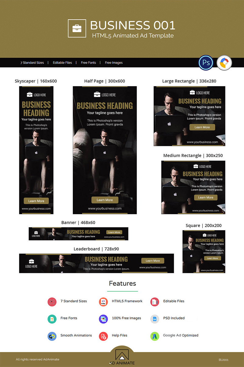 Business HTML24 Ad Animated Banner With Animated Banner Template