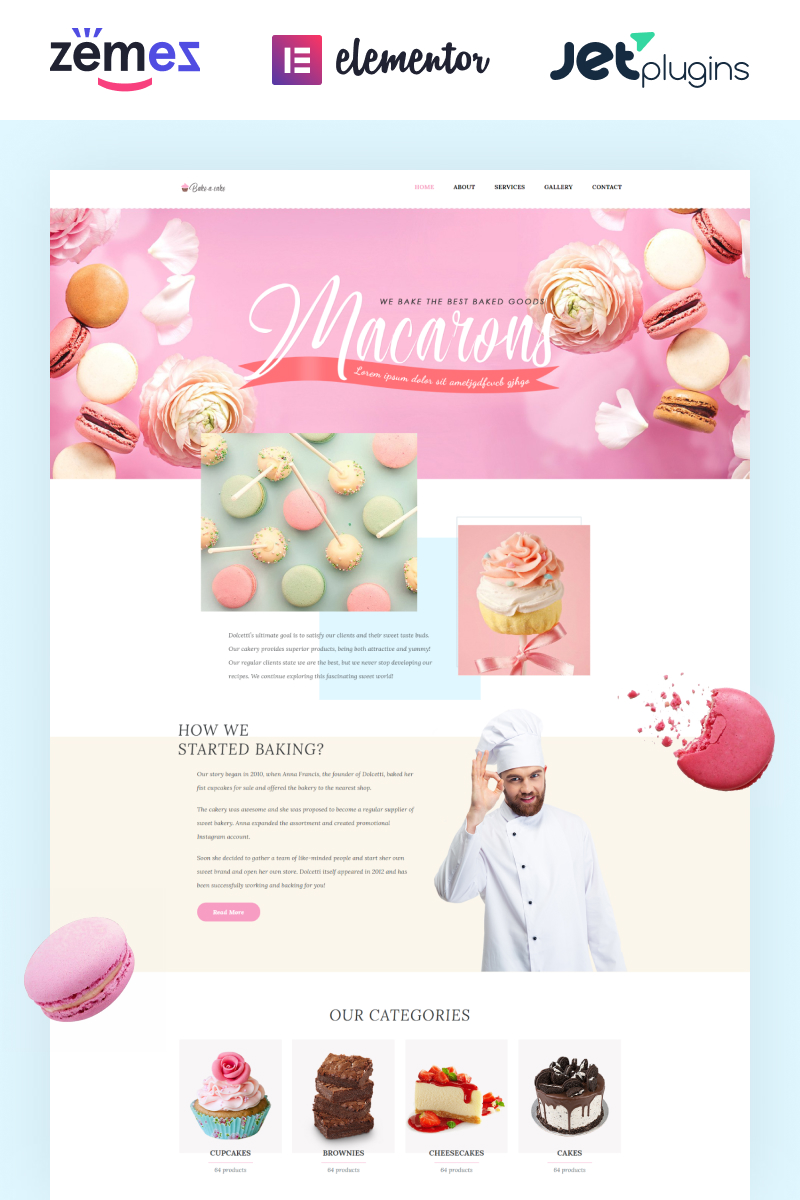 Bake-a-cake - Cakery Elementor WordPress Theme