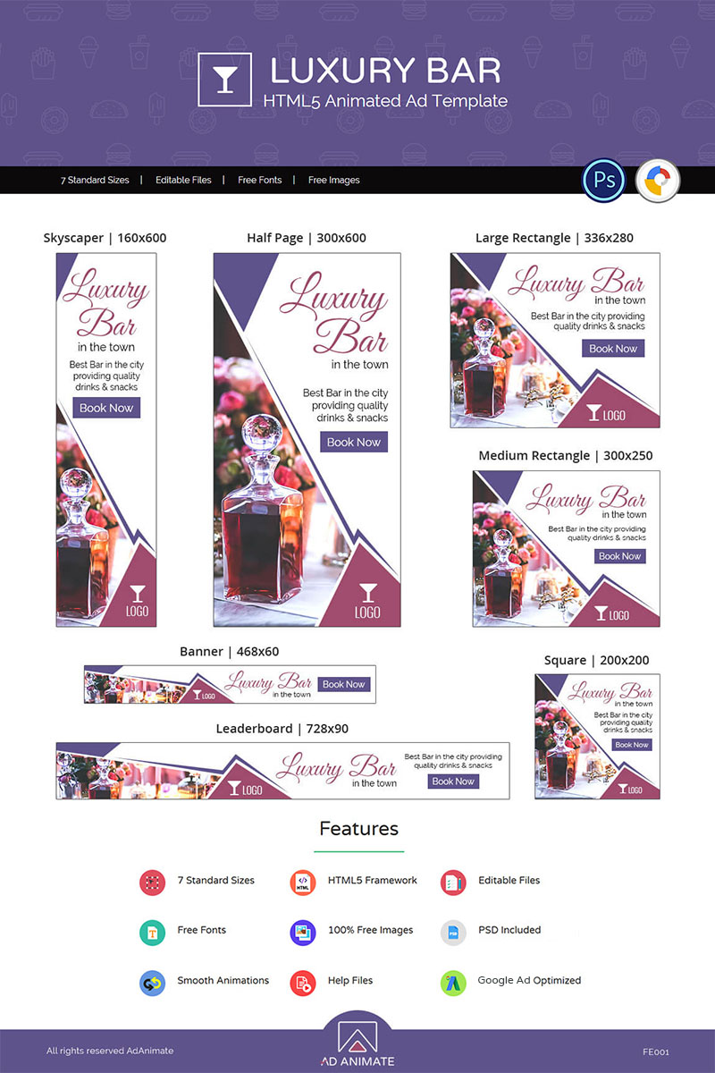 Food & Restaurant  Luxury Bar Animated Banner Intended For Animated Banner Template