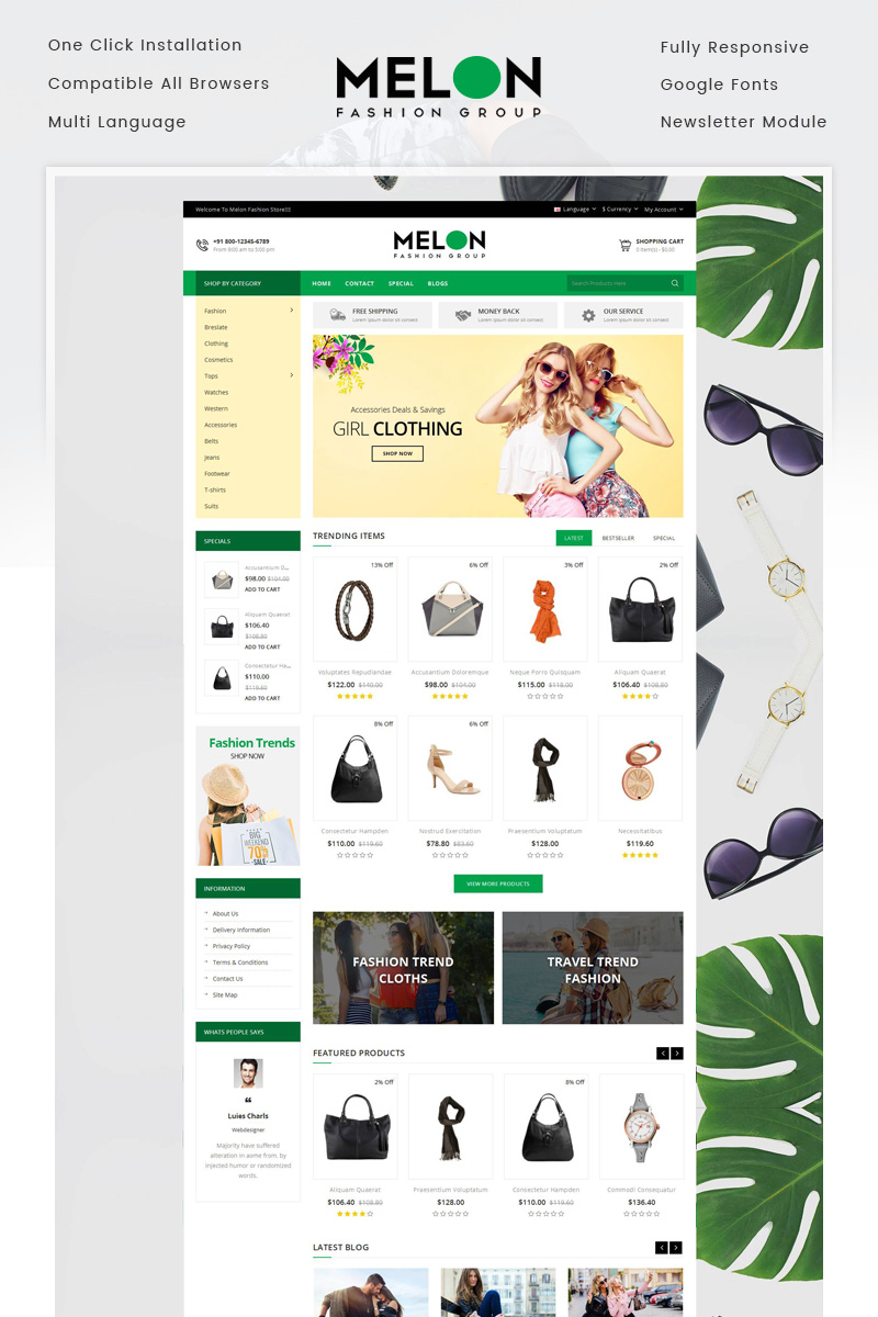 Melon - Fashion Store OpenCart Template