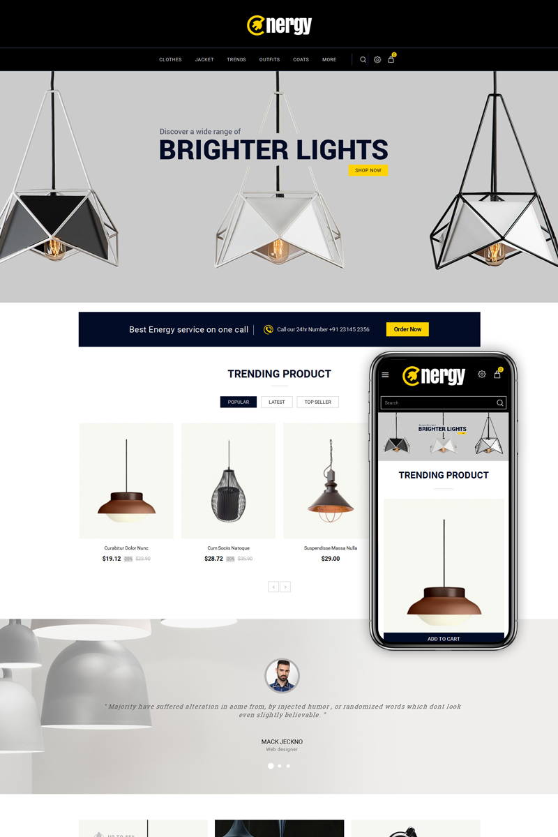 Energy - Lights Store PrestaShop Theme