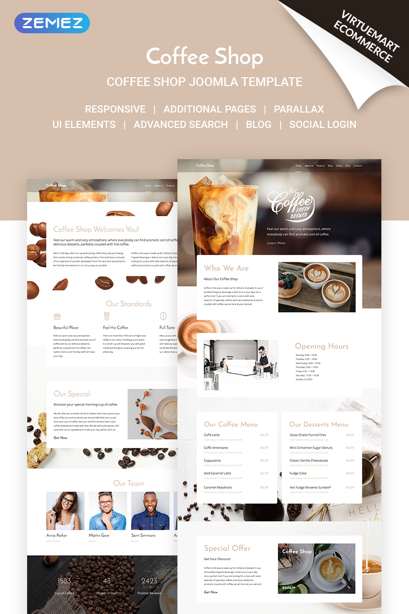 Coffee Shop - Coffe House Responsive Joomla Template