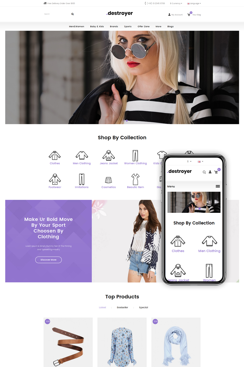 Destroyer - Fashion Store OpenCart Template