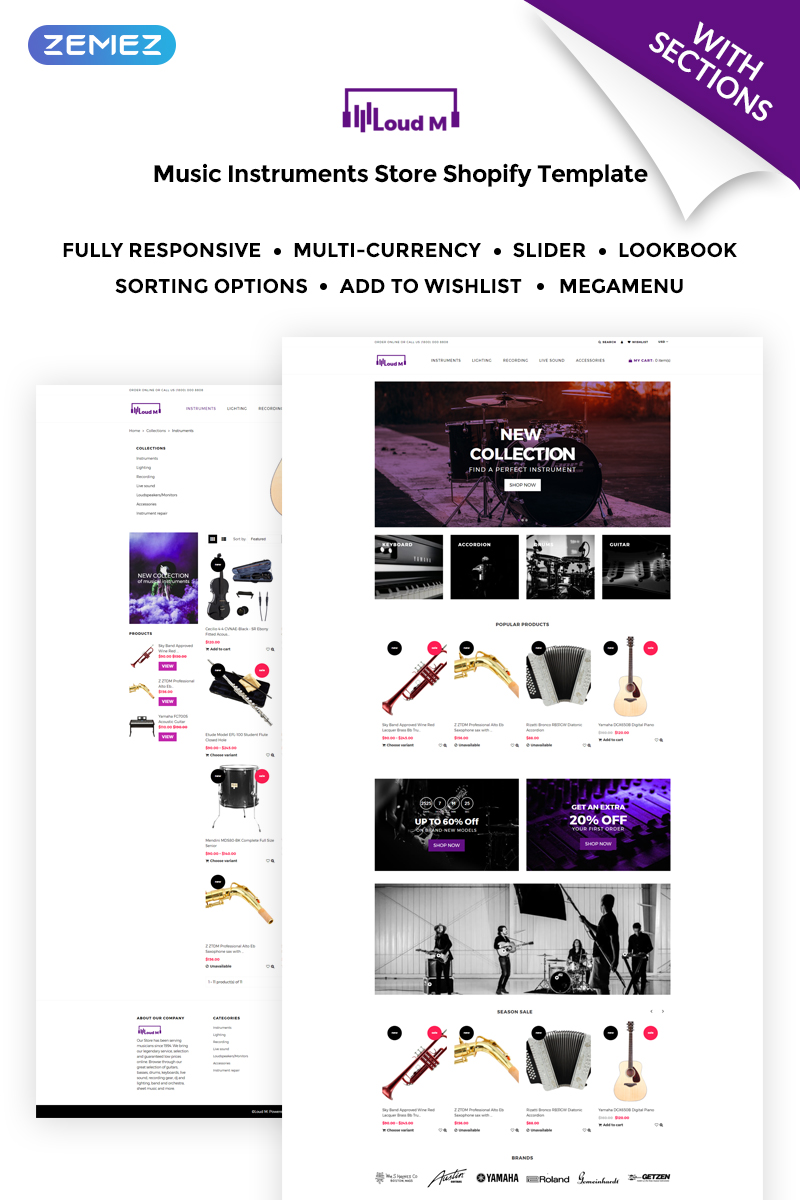 Loud M - Music Instruments Store Shopify Theme