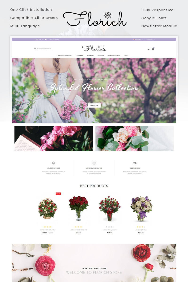 Florich - Wedding Flowers Store OpenCart Template