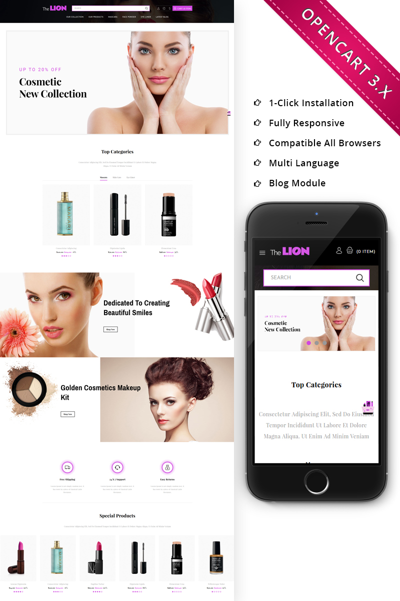 Lion Cosmetic - Beauty Store Responsive OpenCart Template