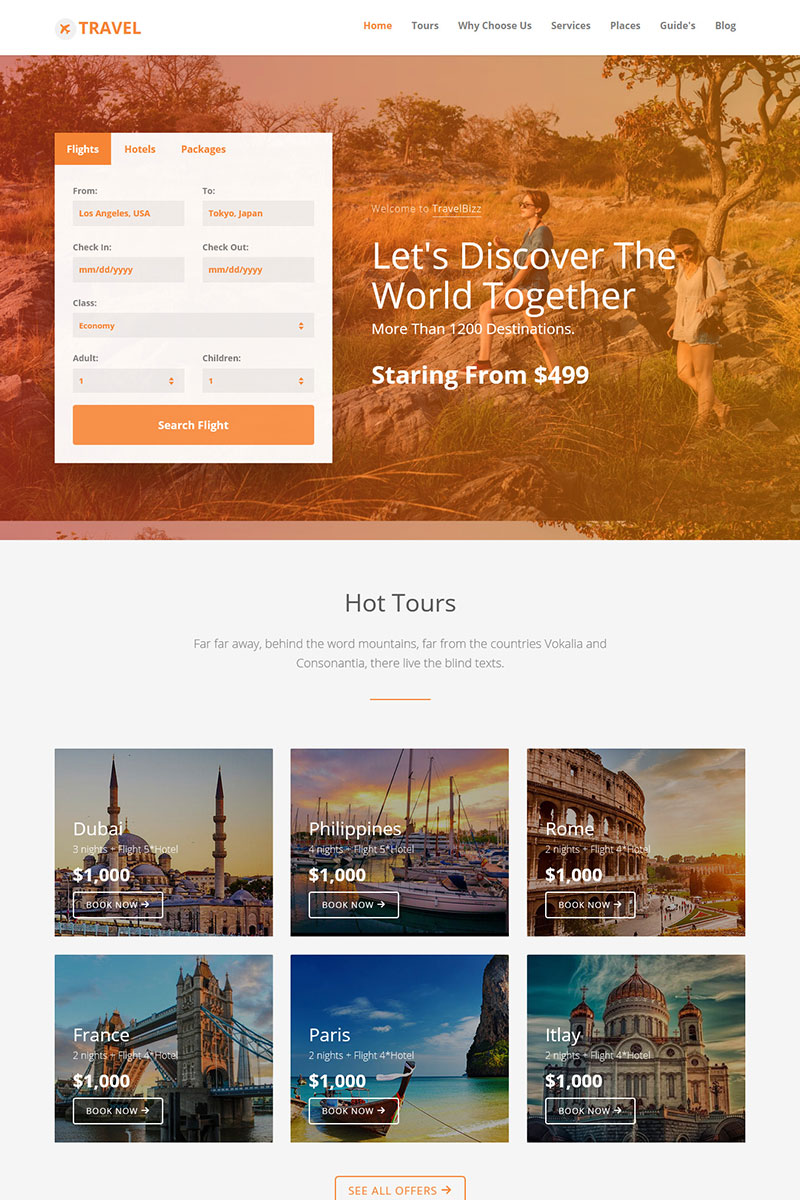 TravelBizz - Travel Agency HTML Tempalte Landing Page Template