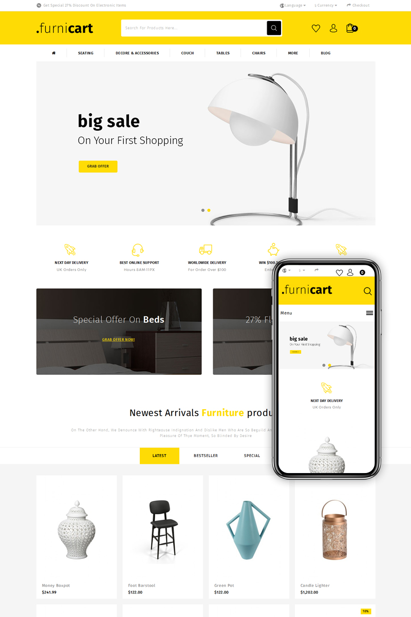 FurniCart - Home Decor Store OpenCart Template