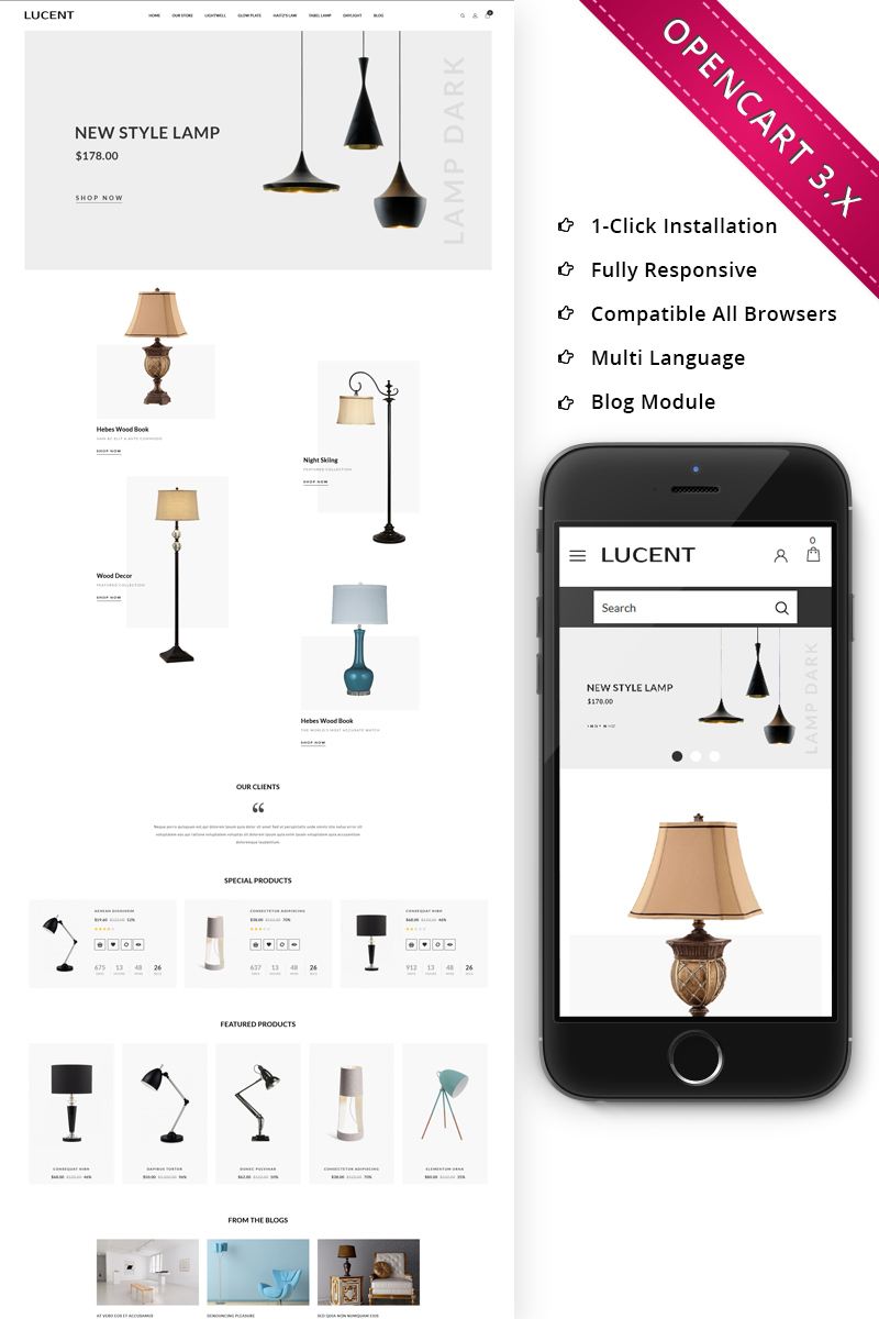 Lucent Light Store Responsive Store OpenCart Template