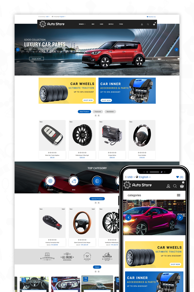 AutoStore - Auto Parts and Equipments PrestaShop Theme