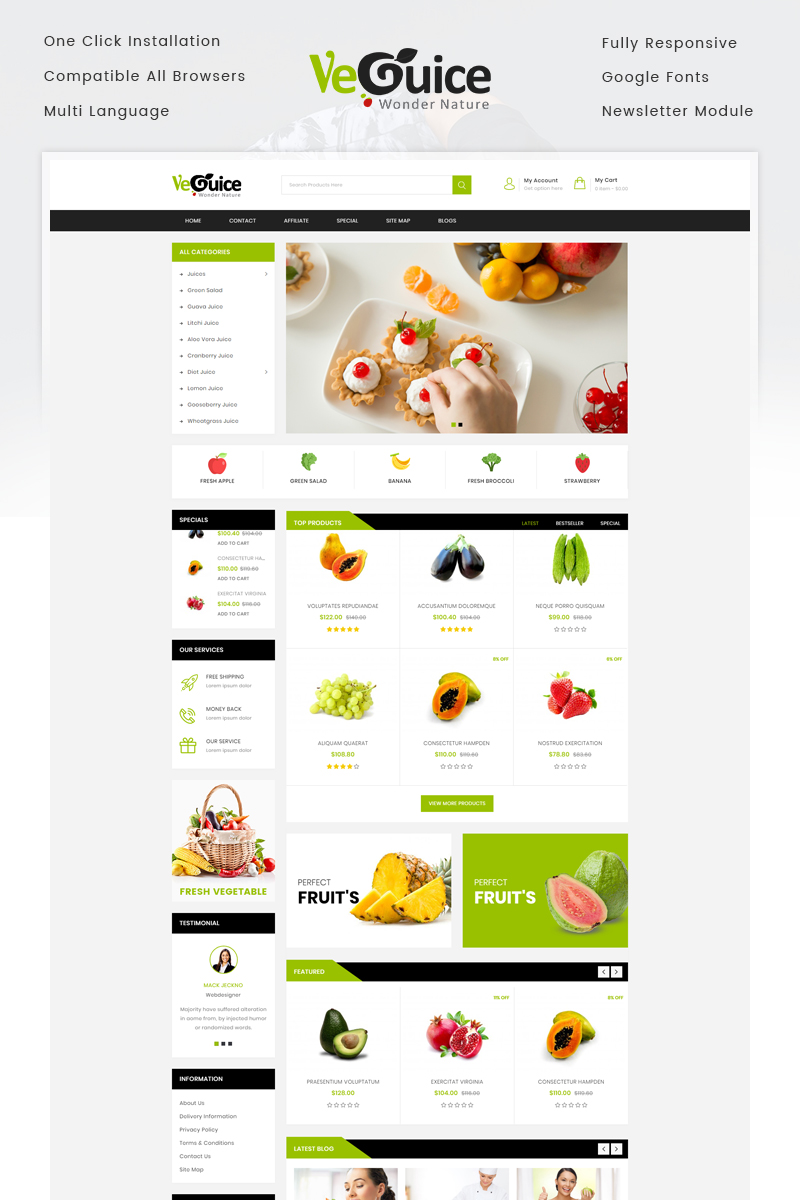 Guice Grocery Store OpenCart Template