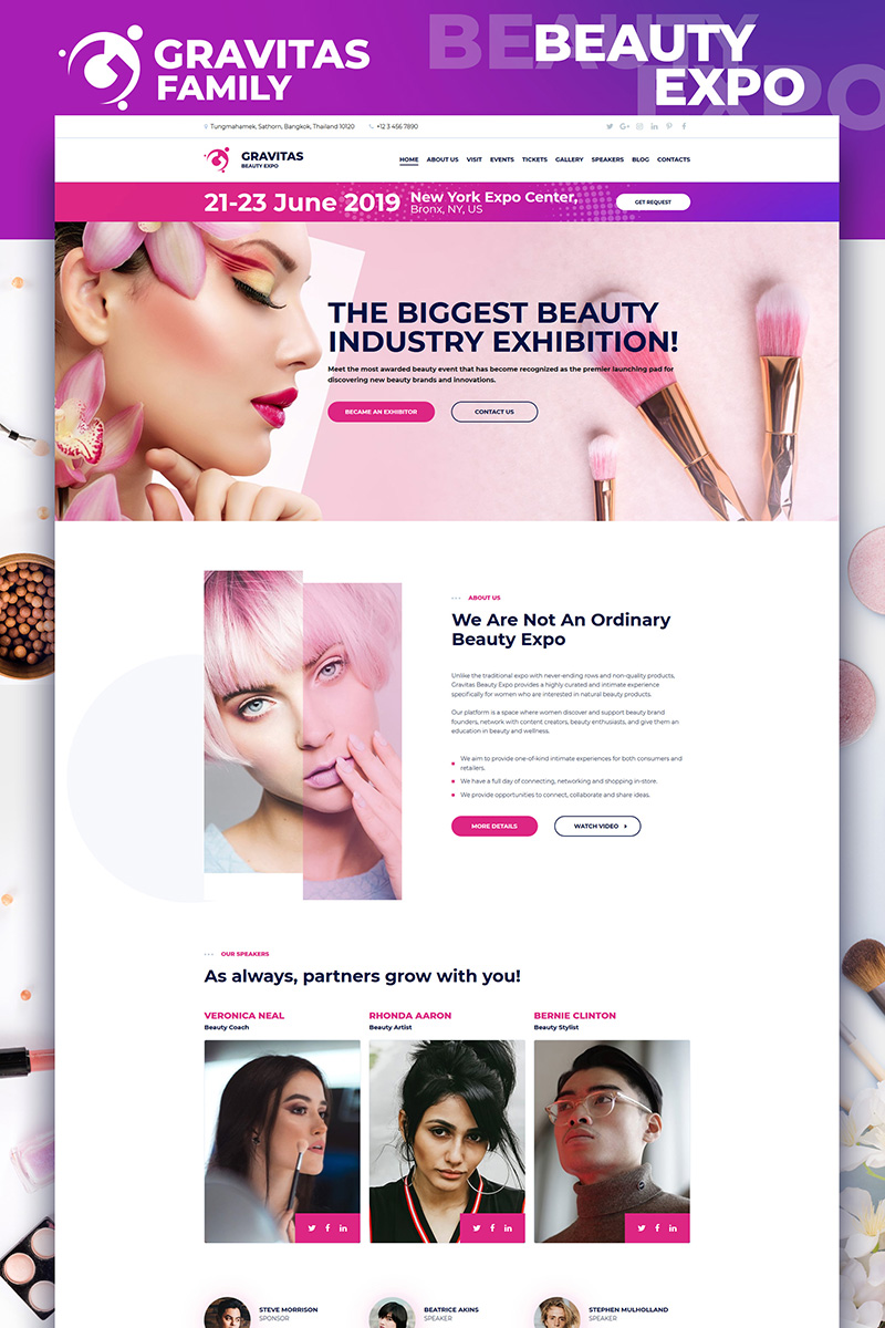 Gravitas - Beauty Expo Moto CMS 3 Template