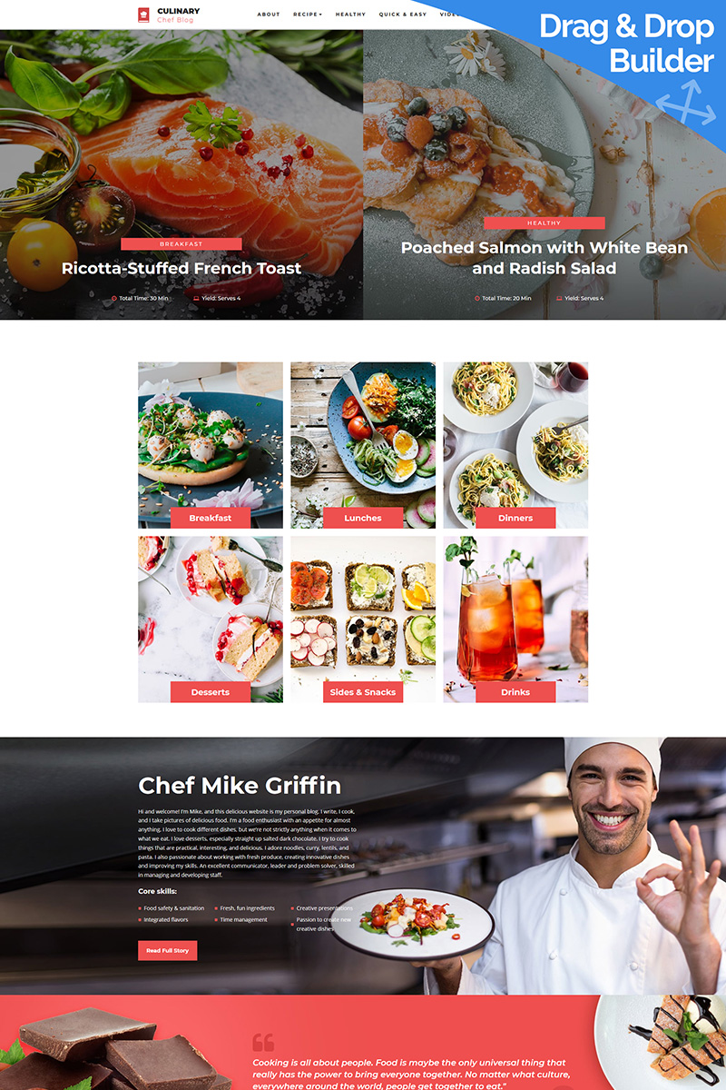 Culinary - Recipe Moto CMS 3 Template