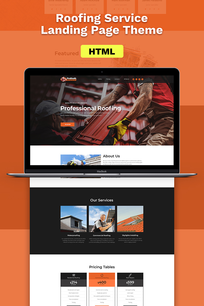 Responsive Roofing Landing Page Template