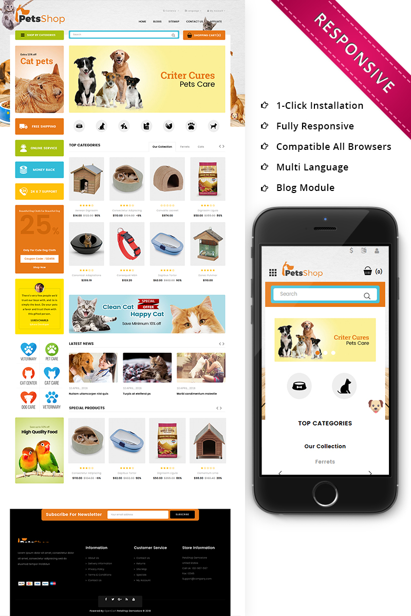 Petsshop - The Pets Store Responsive OpenCart Template