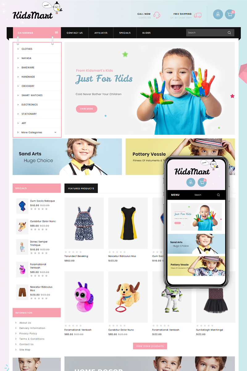 Kids Mart Shop OpenCart Template