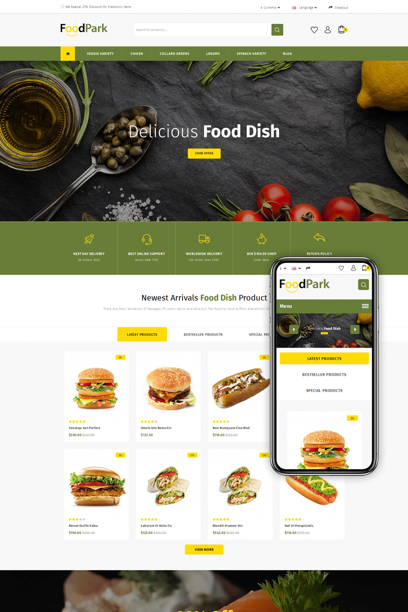 FoodPark Store OpenCart Template