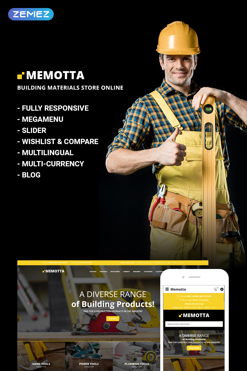 Memotta - Building Materials Store OpenCart Template