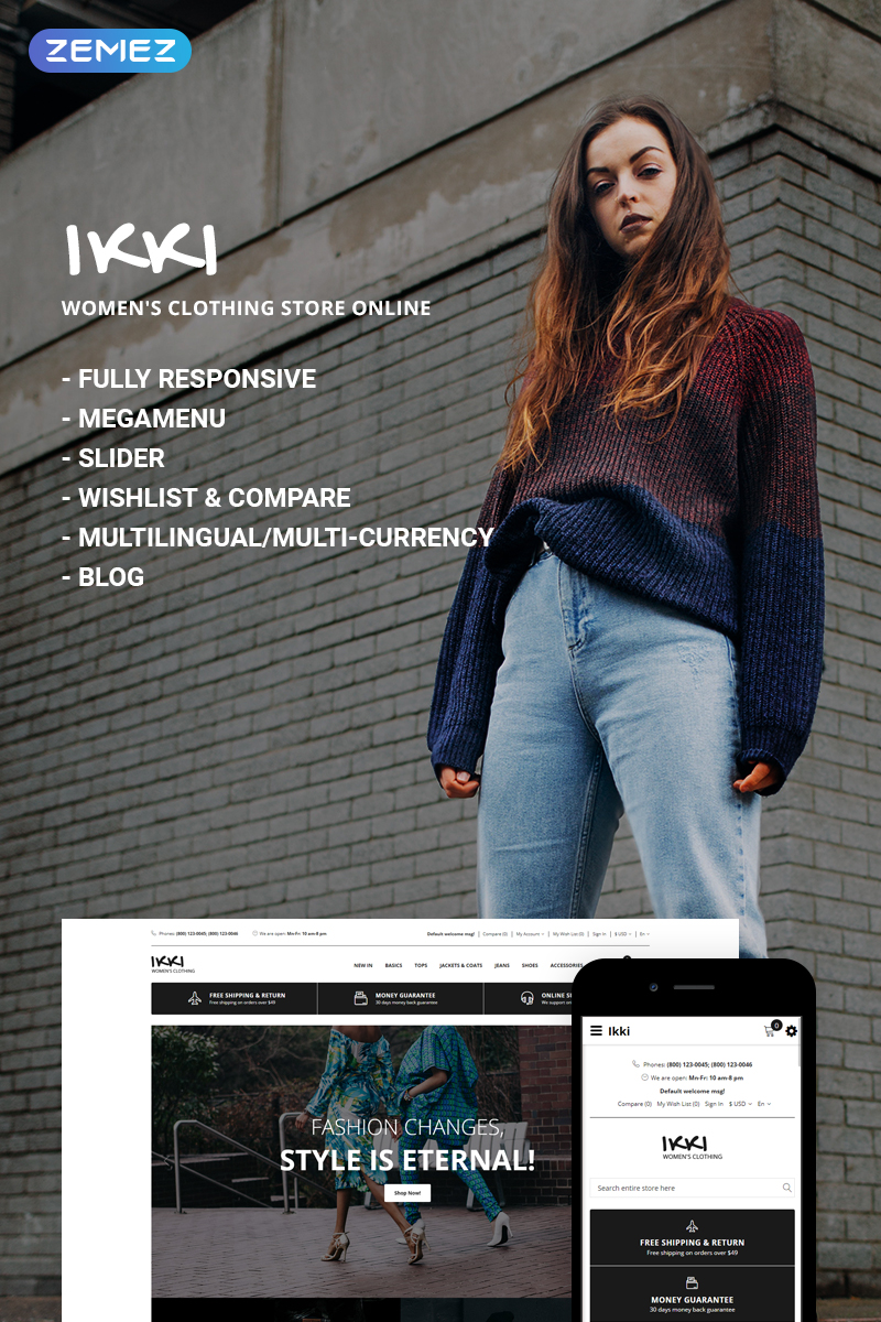 Ikki - Women's Clothing Store OpenCart Template