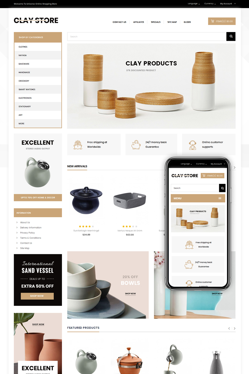 Clay - Home Deco Store OpenCart Template